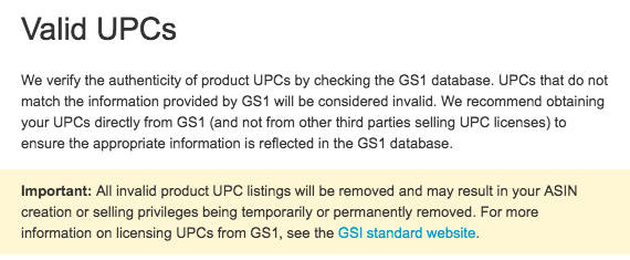 Amazon resold barcodes TOS